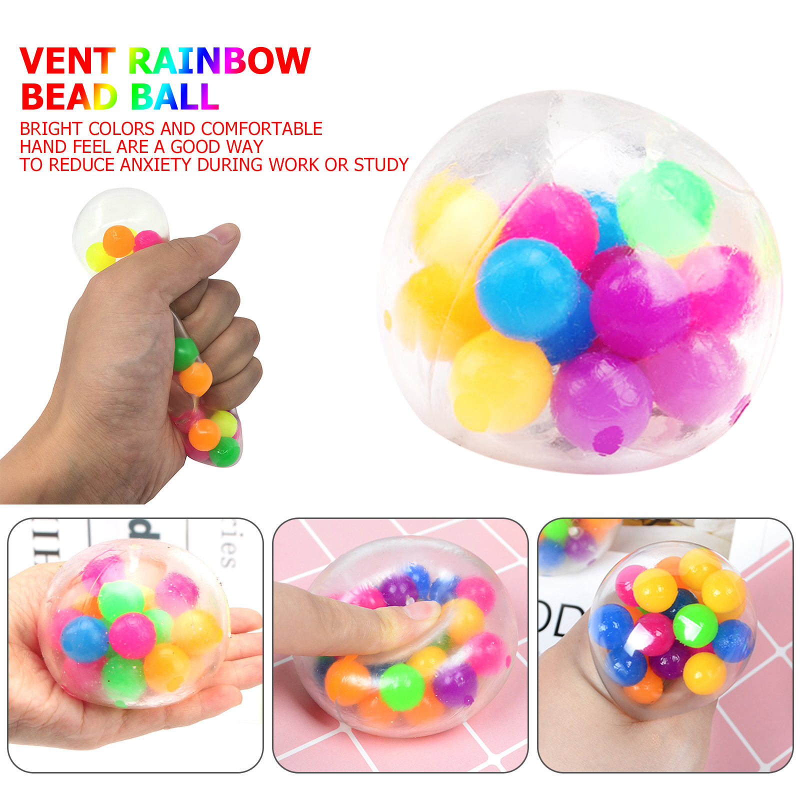 Squishy Toy Anti-Stress-Toys Rainbow-Ball Bead Squeezable-Stress Spongy Hot-Sale img1