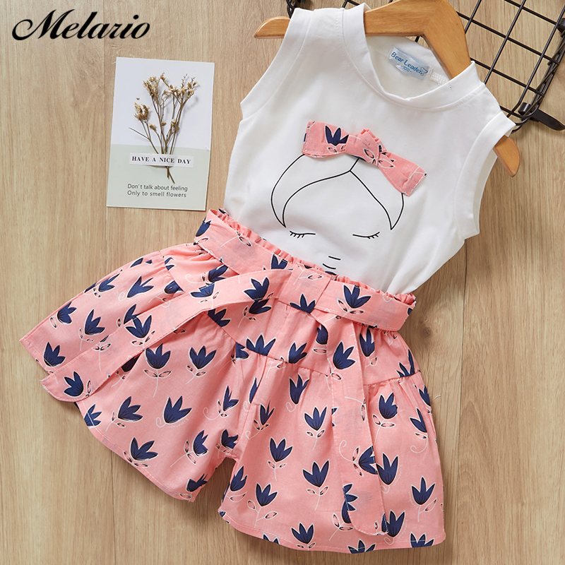 Melario Kids Girls Clothing Sets Summer Baby Girls Clothes T-Shirt and Jeans Shorts Suit 2Pcs Children Clothes Suits 1