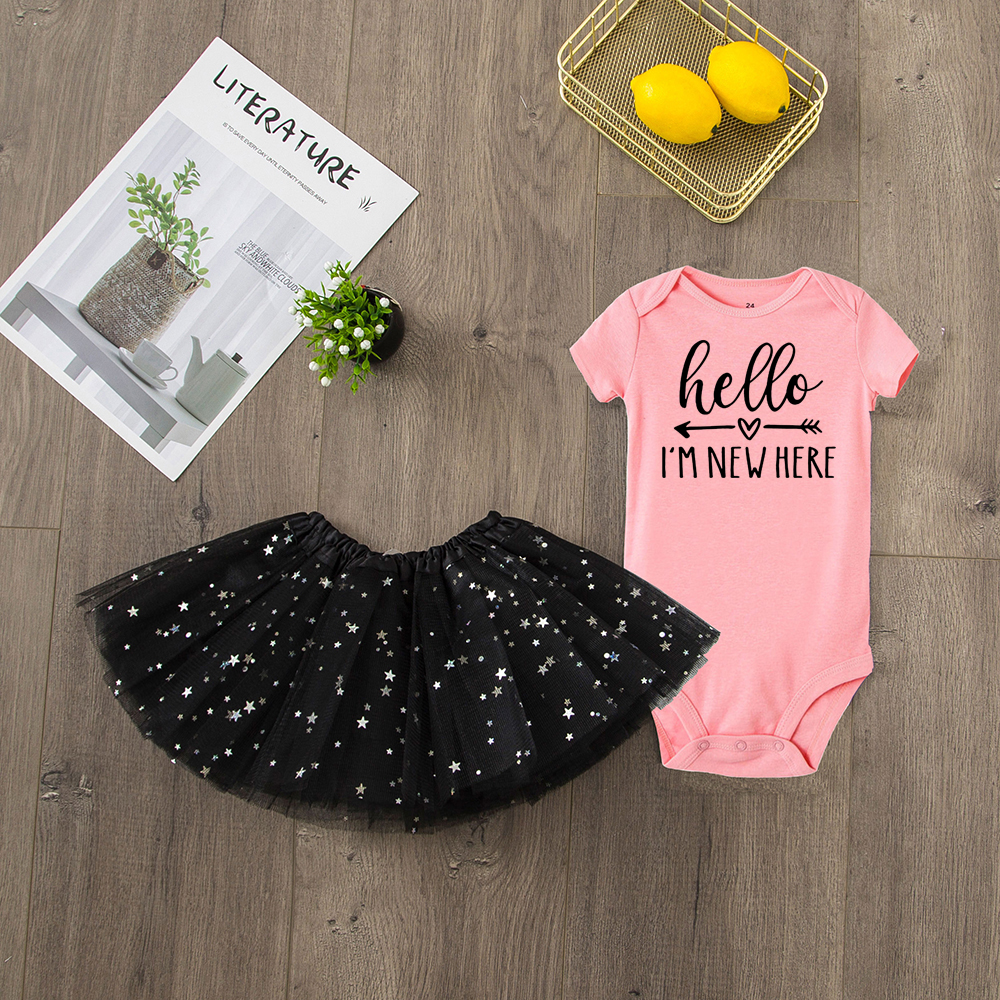 100/% Cotton Long Sleeve-Baby Bodysuit-One Piece Hello I/'m New Here