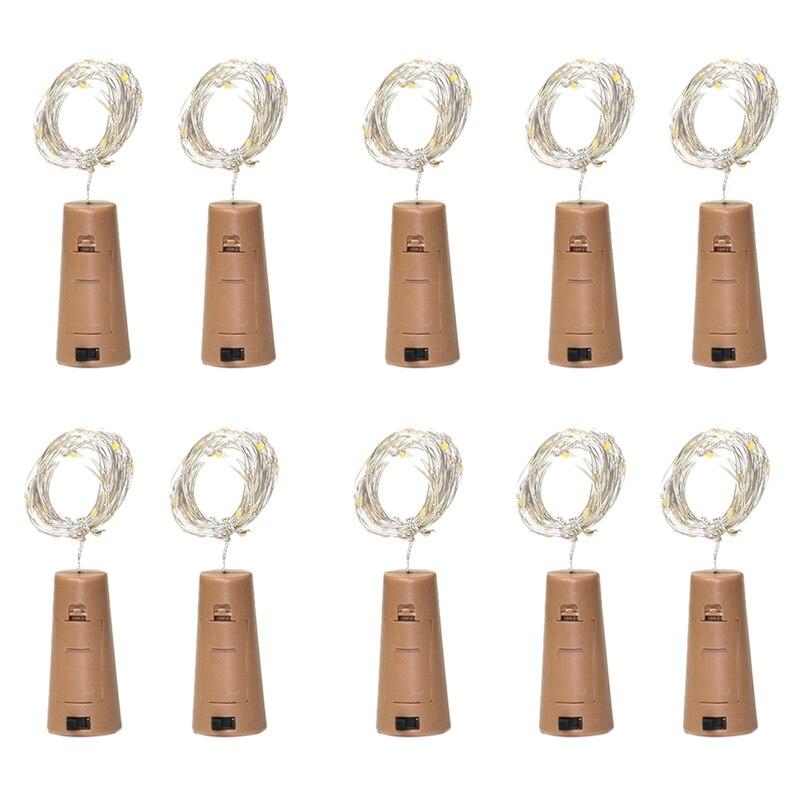10-Piece LED Wine Bottle Light Warm White Cork Light Lithium Battery Powered Fairytale Mini String Lights for Wine Wedding Party