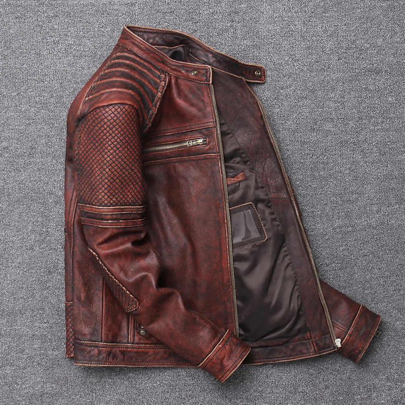 100% Del Cuoio Genuino Della Mucca degli uomini del Rivestimento Degli Uomini di Abbigliamento Autunno Inverno 2020 Streetwear Cappotto Slim Fit Moto Biker Giacca di Pelle U-15718
