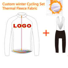 Wielertruien Concurrentie Grade Custom Ontwerp Thermische Fleece Winter Lange Mouwen Jerseys 9D Pad Bib Broek Racing Sport Set