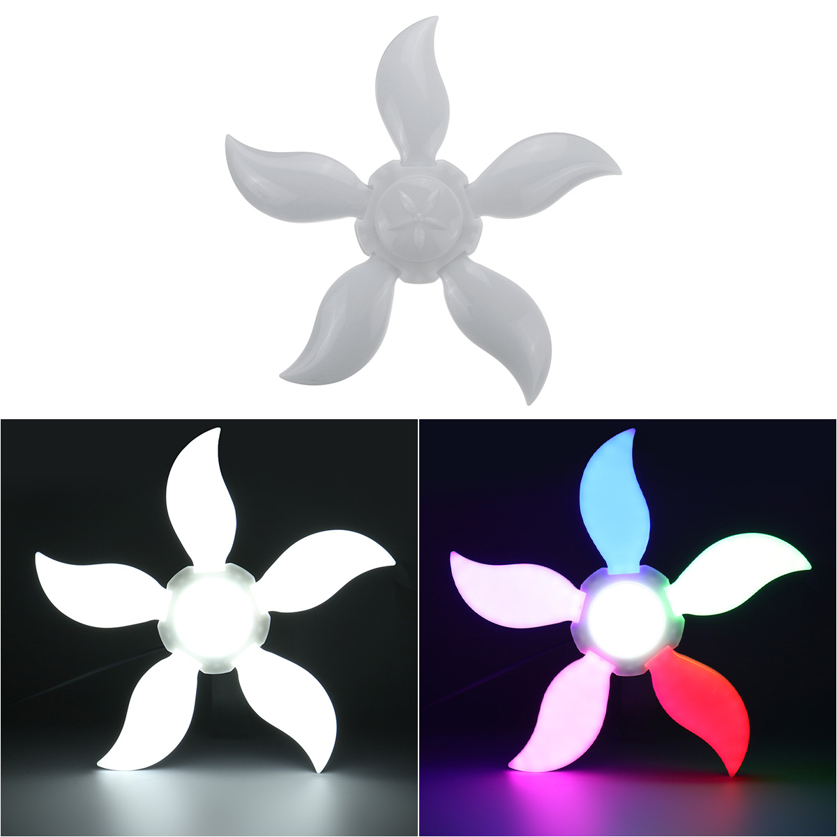 AC220V E26/E27 White Colorful Five-Leaves 140LED Garage Light Bulb Foldable Mining Workshop Supermarket Lamp