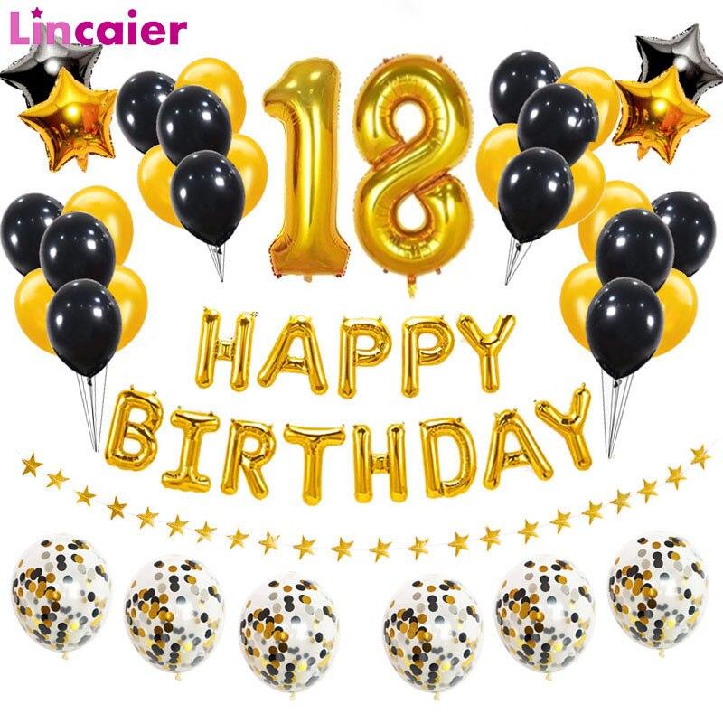 38 шт., 18 воздушных шаров на день рождения, 18 с днем рождения, 18 лет, вечерние украшения, золотые, черные, розовые, золотые, женские, мужские това...