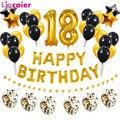 38 шт. номер 18 на день рождения воздушные шары 18th с днем рождения 81th 81 лет вечерние украшения золотистый и черный цвета розового золота обувь ...