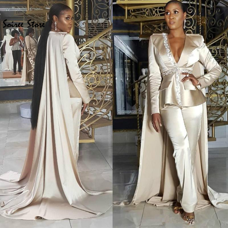 Champagne African Evening Dresses With Caped Sexy Deep V Neck Long Sleeve Jumpsuit Prom Dress Plus Dubai Arabic Evening Gowns