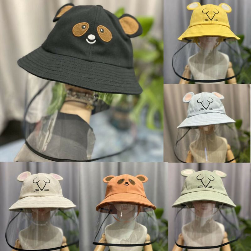 Kids Baby Hat Protect Virus Bucket Hat Anti Dust Flu Protection Hats + Face Cover Windproof Cap Hat Cute Bear Caps 3-10Y