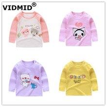 VIDMID/топы для маленьких девочек; Детские футболки; сезон осень-весна Милая Одежда для девочек Детская рубашка; блузка хлопковая одежда для маленьких девочек; 7086
