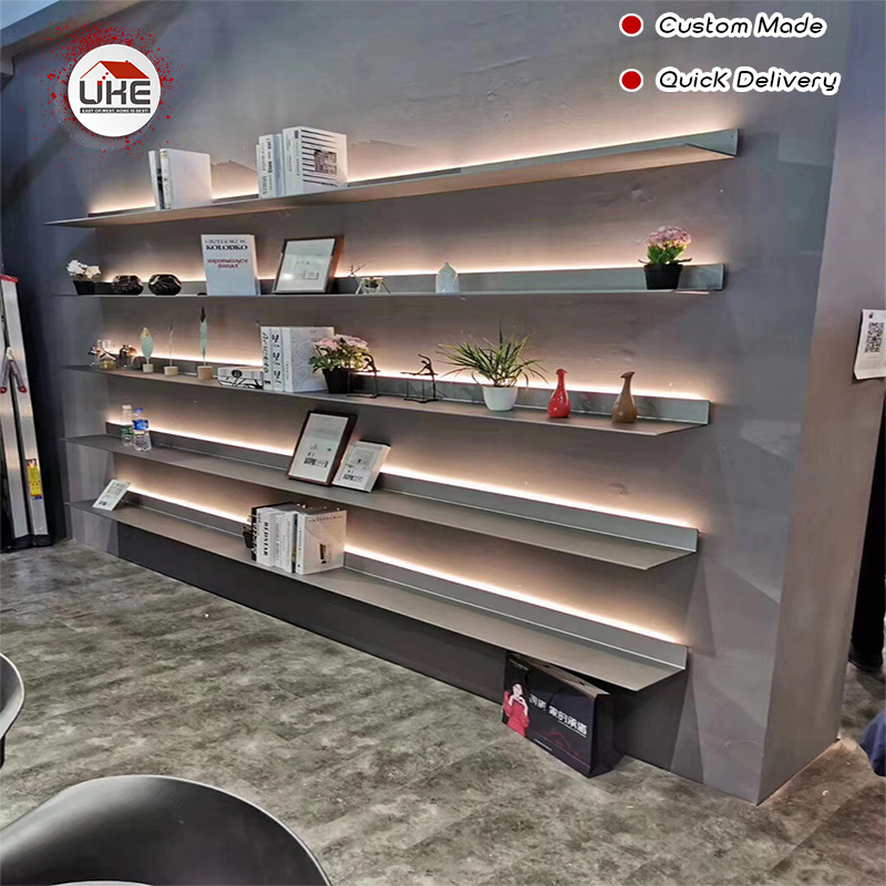 UKE Italy Minimalist Wall Mounted LED Light Display Shelf With Light L Shape For Living Room, Kitchen,study Room