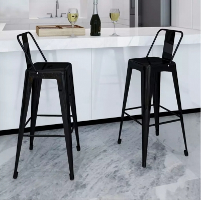 Bar Stools 2pcs Square Black