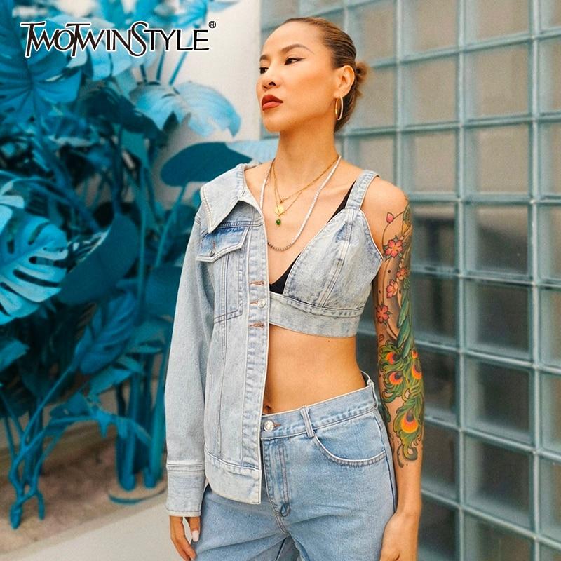 TWOTWINSTYLE Patchwork Asymmetrical Women Coat V Neck Long Sleeve Tunic Streetwear Style Irregular Jakcet Female Fashion Tide