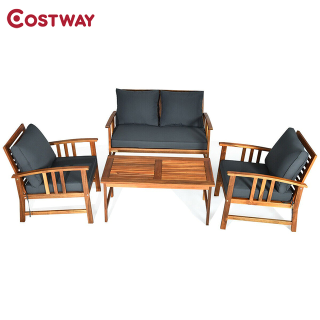 4 Pcs Wooden Patio Furniture Set  1