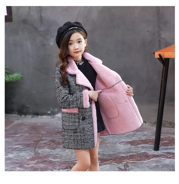 Image 5 - Girls Suede Coat Girls Long Warm Plaid Woolen Coat Heavy Weiht Kids Plus Velvet Thicken Overcoat Child Wadded Jacket-in Jackets & Coats from Mother & Kids