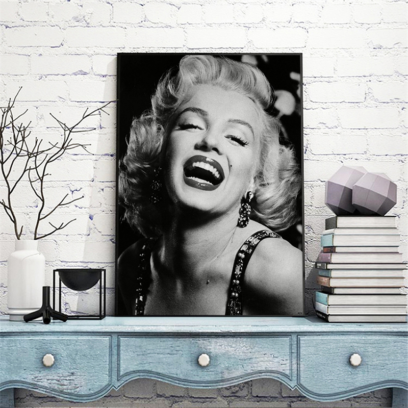 RELIABLI ART Sexy Woman Famous Movie Star Posters Black And White Canvas Painting Wall Art Pictures For Living Room Home Decor