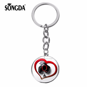 SONGDA Queen of Spades Keychain Crown King Queen Poker Spades Q Red Heart Print Glass Cabochon Key Ring Holder Jewelry Wholesale(China)