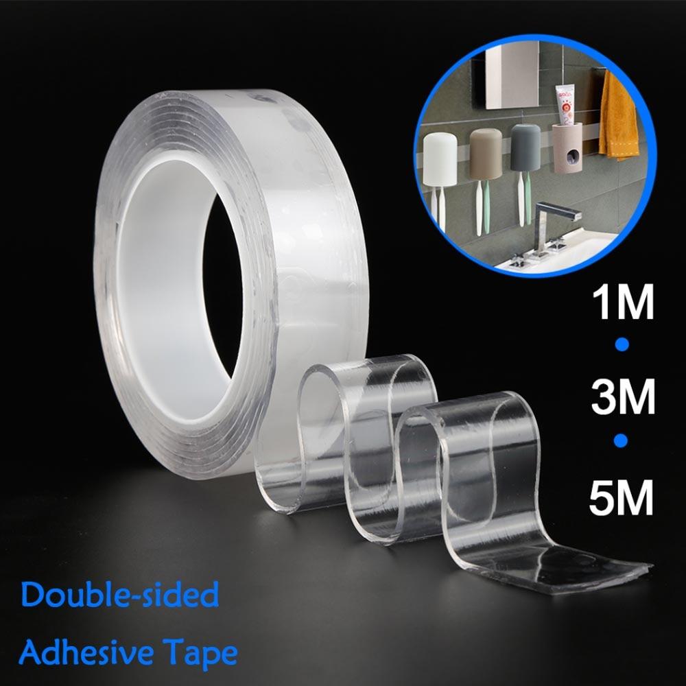 1/2/3/5m Multi Function Nano Magic Tape Gekko Tape Double Sided Sticky Gekkotape Adhesiva Reusable Tape Loop Disks Glue Gadget