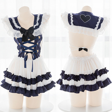 Girl Sexy Lolita Lace Perspective Backless Hollow Out Cross Bandage Nightdress Navy Collar Uniform Short Skirt Underwear Set