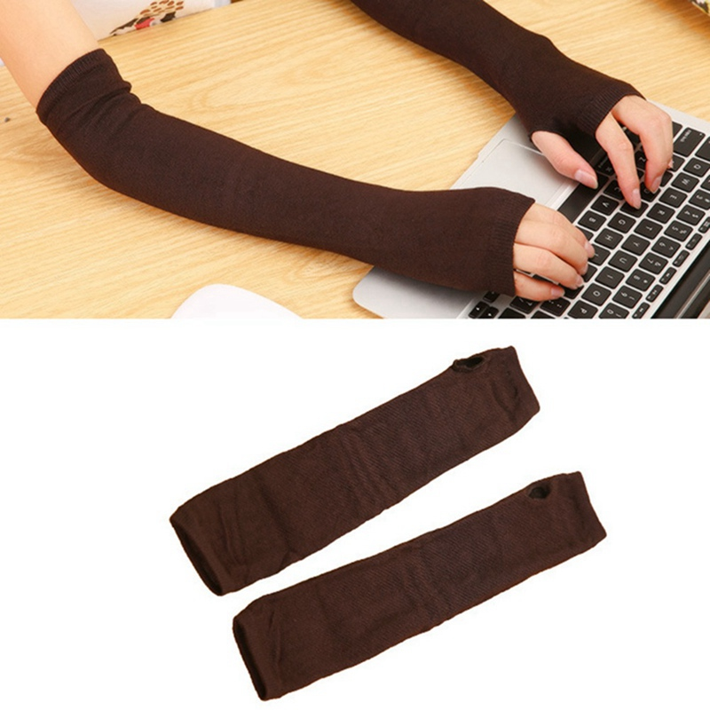 Fashion Long Gloves Arm Sleeves Ice Silk Sunscreen Arm Sleeves Sun Protection Arm Winter Warmer Half Finger Arm Sleeves