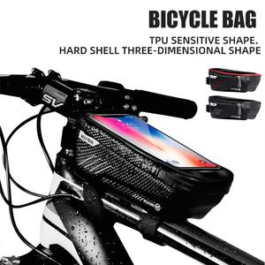 Жесткая велосипедная сумка, сумка для горного велосипеда с передним лучом, верхняя труба, водонепроницаемый мобильный телефон, сумка для се...