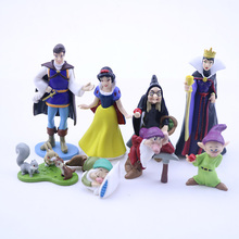 8pcs/set Kids Toys Princess Snow White Queen Witch Prince Dwarfs Action Figure PVC Cake Decora Model Dolls Girl Christmas Gifts