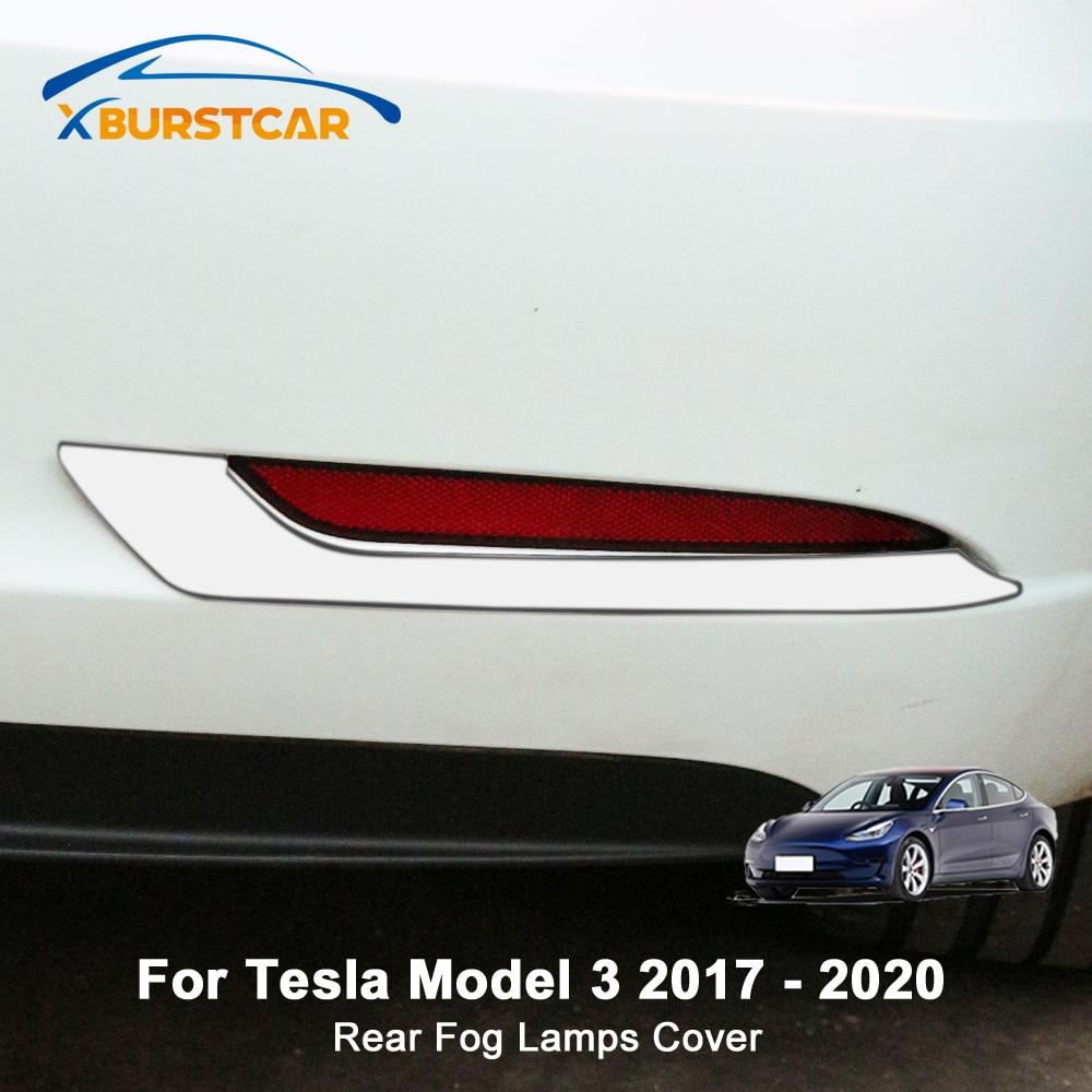 Xburstcar 2Pcs/Set Stainless Steel Rear Fog Lamps Cover Back Fog Lights Trim Sticker For Tesla Model 3 Model3 2017 - 2020