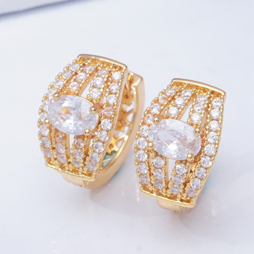 31 Styles Luxury Gold Hoops Cubic Zirconia Crystal Small Hoop Earrings for Women Indian Bridal Jewelry 2019