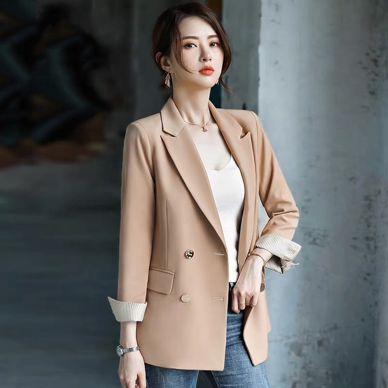 2019 Autumn New Women's Blazers Vintage England Style Temperament Professional Double Breasted Office Lady Solid Coat Plus Size