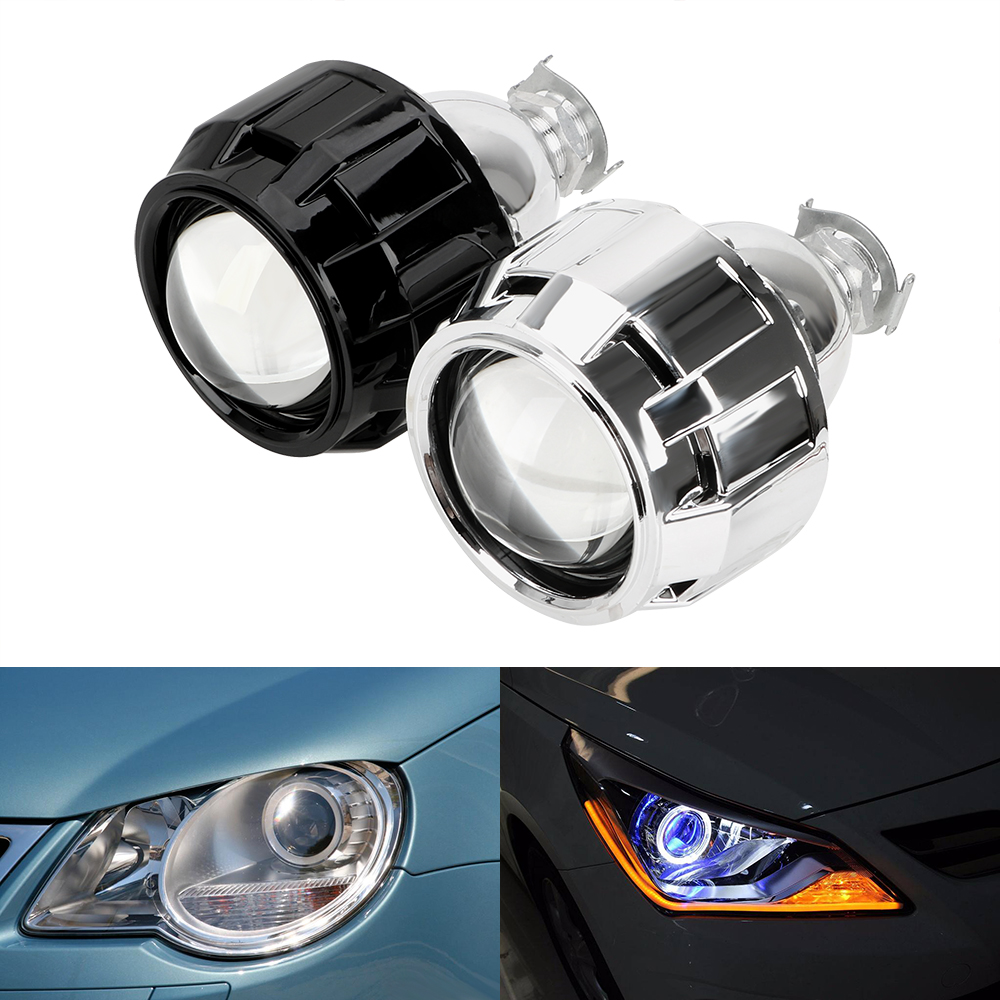 LEEPEE Motorcycle Car <font><b>Headlight</b></font> Accessories 2.5 Inch Silver Black Shell Xenon HID Projector <font><b>Lens</b></font> For H1 Xenon <font><b>LED</b></font> Bulb H4 <font><b>H7</b></font> image