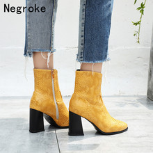 Brand Genuine Leather High Heels Women Boots Pointed Toe Snake Thick Heel Shoes For Women Ankle Boots Booties Botas Mujer 2019