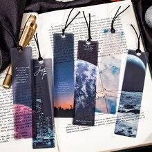 5 pçs/set roaming o universo fosco pvc bookmarks cartão lua estrelas nuvens céu ins estilo livro página marcador presentes para amigos meninos