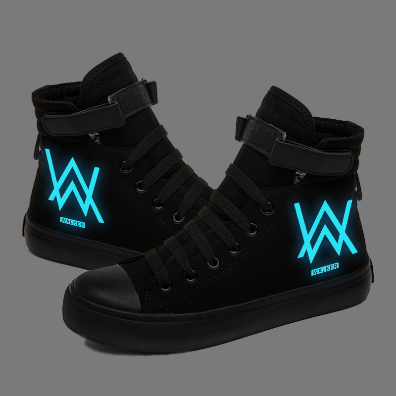 Fade Alan Walker Linkin-park Luminous Sneakers Canvas Shoes Women Men Casual Shoes  Breathable Students Flat Shoes Women Boot