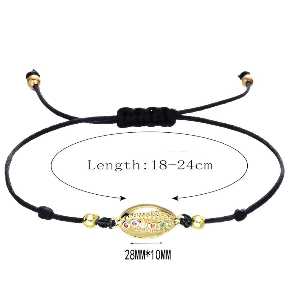CHSXY Lovely AAA Cubic Zircon Shell Charm Bracelet Gift Lucky Red Rope Thread Braided Bracelets for Women Kids Jewelry Pulsears