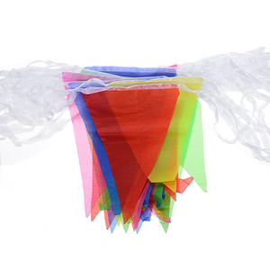 Image 3 - 100pcs Colorful Bunting Banner Flags Pennant Chain Garland Bunting Flag Chain Garland Birthday Festive Party Decoration