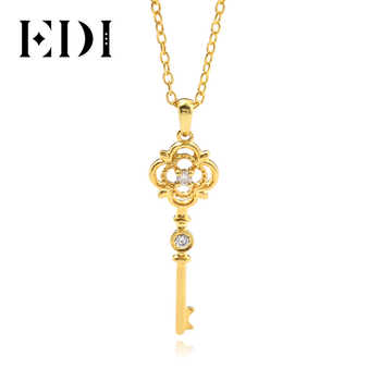 EDI Classic Clover Gold Diamond Key Pendant 9K Solid Rose Gold Real Natural Diamond Pendant Necklace Match 16' Silver Necklace - DISCOUNT ITEM  14% OFF All Category