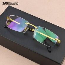 Square Frameless titanium glasses frame men optical glasses frame women Retro eyeglasses frame Womens spectacle frames Mens
