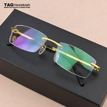 正方形フレームレス titanium メガネフレーム男性の光学ガラスフレーム女性レトロ眼鏡フレーム女性の眼鏡フレームメンズ
