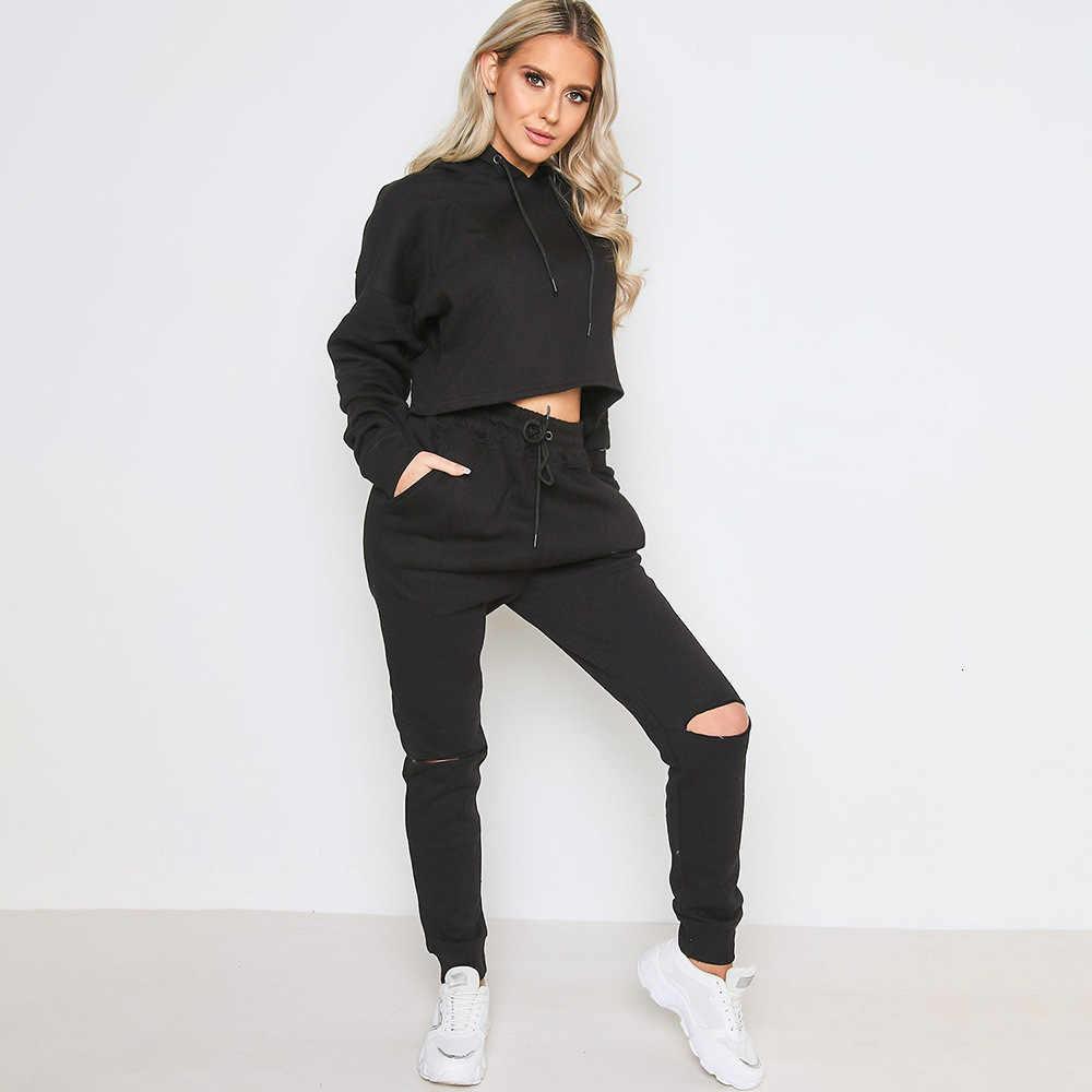 女性のジャージ 2 個セット黒作物フード付きトップパンツファッション 2019 秋カジュアルスーツスーツ