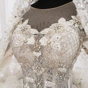 Image 5 - HTL1180 2020 Tiếng Ả Rập Áo Váy Dubai Tay Dài Ren Appliques Đầm Ảo Giác Lưng Petite Áo Cưới Đầm Vestido De Festa