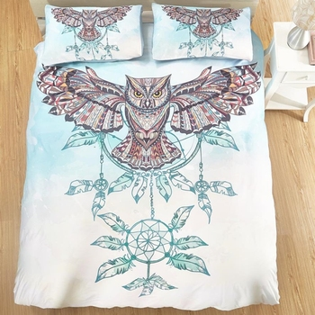 1 Pc Duvet Cover+2Pcs Pillowcases Campanula Owl/Fire Suzaku Bedding Set Cyan White Quilt Cover Twin/Queen/King Size Home textile