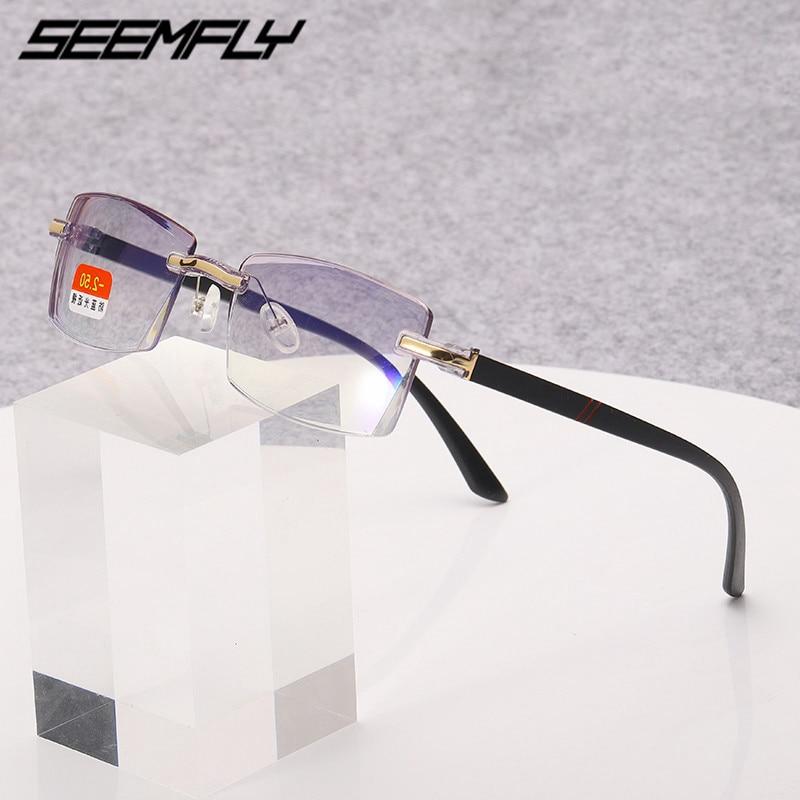 Seemfly Finished Myopia Glasses Frameless Trimming Myopia Eyewear Anti Blue Light TR90 Eyeglasses Goggle -1 To -4.0 Unisex 2020