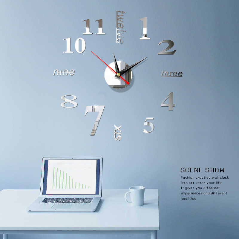 Horloge murale 3d miroir acrylique | Nouvelle horloge murale, bricolage, décoration de maison, aiguille à Quartz de salon, livraison gratuite 2020