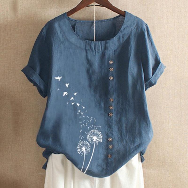Women Floral Printed Summer Loose Blouses Shirt Vintage Linen Cotton Ladies Tops o-neck Short Sleeve Shirts Female Plus Size