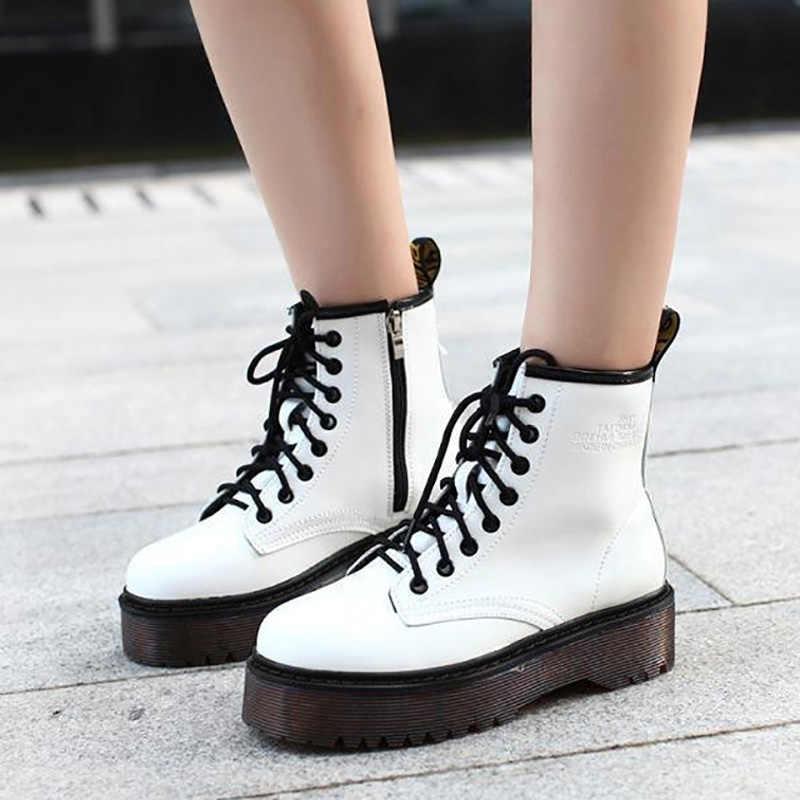 QUANZIXUAN kadın çizme yüksek kaliteli Platform kış sıcak motosiklet botları kadın yarım çizmeler kadın Punk ayak bileği çizmeler kadın ayakkabıları