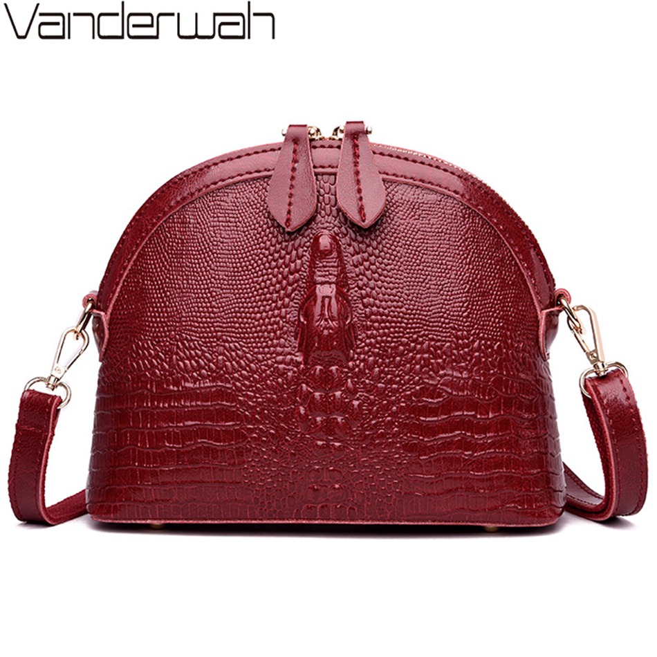 VANDERWAH Genuine Cow Leather Women Crossbody Bag Luxury Handbags Women Bags Designer Alligator Small Shell Bag Sac A Main Femme