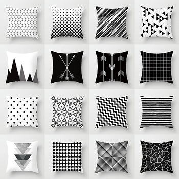 Geometric Patterned Black and White Cushion Cover 2