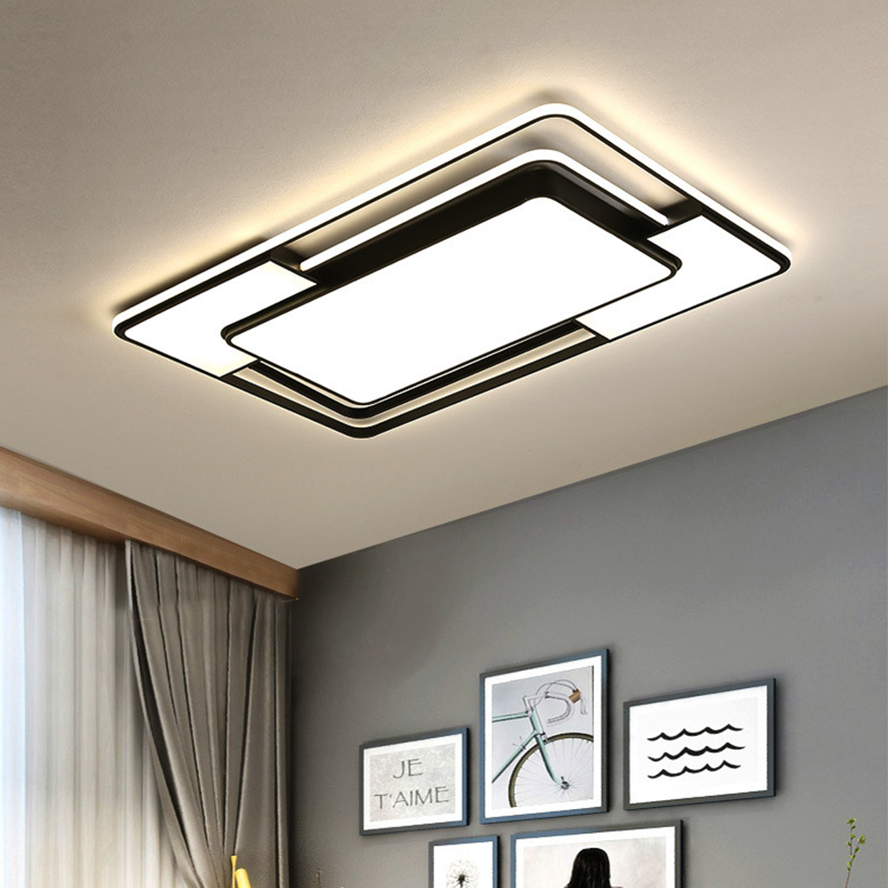 Modern Led Flush Mount Ceiling Light Fixture With Remote Control Black Dimmable Ceiling Lamp For Kitchen Bedroom Living Room Ceiling Lights Aliexpress