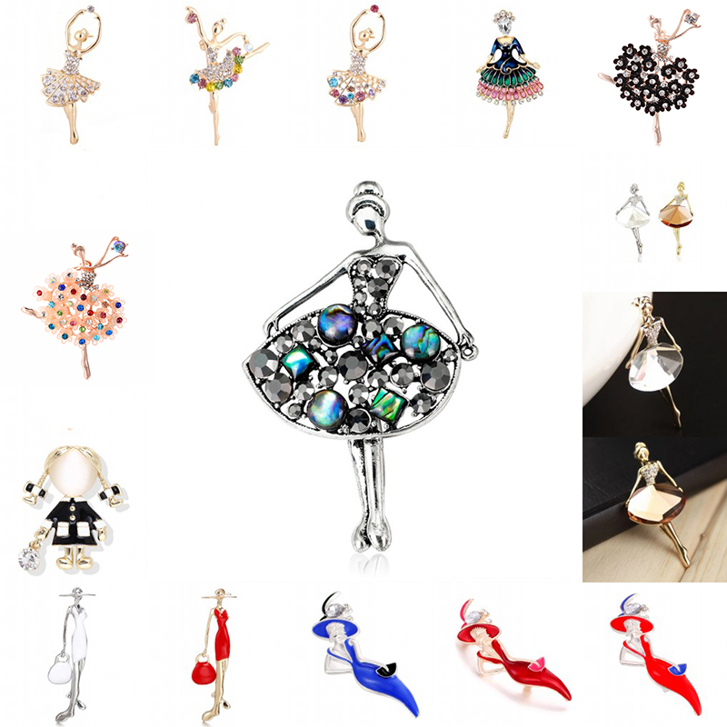 Hot <font><b>16</b></font> Styles Trendy Crystal Brooches <font><b>Sex</b></font> Modern Lady Model Dancer Ballerina Brooch Female Hat Sweater Badge Pins For Women image