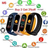Pulsera inteligente M6 para hombre y mujer, reloj deportivo con Bluetooth, música, para Android e iOS, nuevo