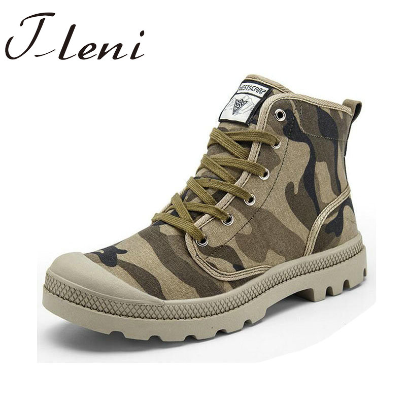 Tleni New Men Big Size Men High Top Retro Sneakers Ankle Motorcycle Boots Camouflage Canvas Running Army Shoes ZH-106