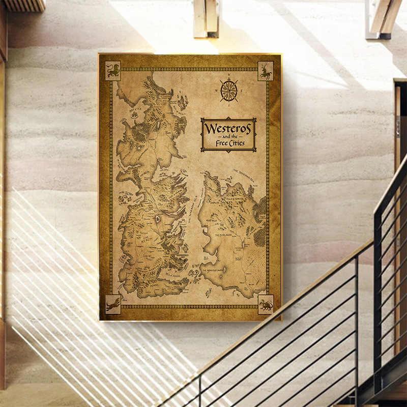 ミドルアースヴィンテージマップのポスターゲーム魂ザ指輪の映画絵画ピクチャーウォールアートホームデコレーションリビングルームのための
